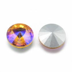Cabochon rond en verre 12mm Topaz Iris (1)
