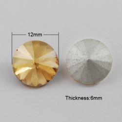 Cabochon rond en verre 12mm Golden Shadow (1)