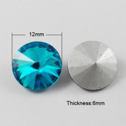 Cabochon rond en verre 12mm Indicolite (1)