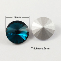 Cabochon rond en verre 12mm Bleu Prussian (1)