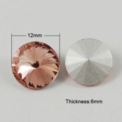 Cabochon rond en verre 12mm Vieux Rose (1)