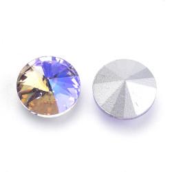 Cabochon rond en verre 12mm Light Violet Iris (1)