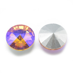 Cabochon rond en verre 12mm Light Topaz Iris (1)