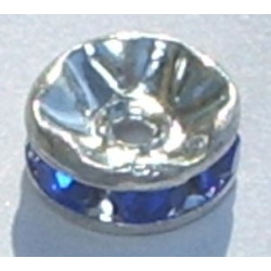 Rondelle strass 8mm Saphir Argent (x1)