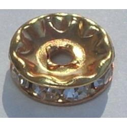 Rondelle strass 4,5mm Cristal Doré (x1)