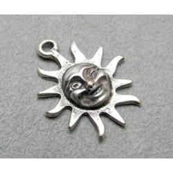 Breloque soleil argenté 30x25mm (X1)
