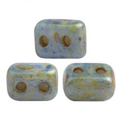 Perles Ios® par Puca® 5,5x2,5 mm Opaque Blue Green Spotted (x5g)