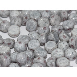 Perle Cabochon 2 trous Chalk White Teracota Copper (x12)