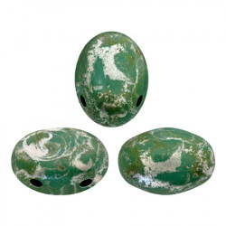 Perles Samos® par Puca® 5x7mm Opaque Green Turquoise New Picasso (x5gr)