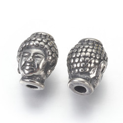 Perles Boudha Acier inoxydable 10x13x9 mm (x1)