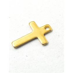 Breloque Croix Doré Acier inoxydable 13x8mm  (x1)
