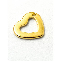 Breloque Coeur Evidé Doré Acier inoxydable 12mm  (x1)