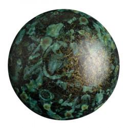 Cabochon Verre 25mm Metallic Mat Green Spotted (X1)