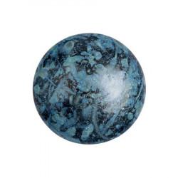 Cabochon Verre 18mm Metallic Mat Blue Spotted (X1)