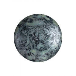 Cabochon Verre 18mm Metallic Mat Old Silver Spotted (X1)