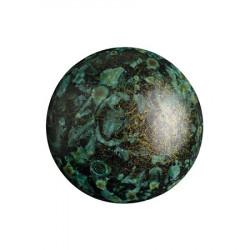 Cabochon Verre 18mm Metallic Mat Green Spotted (X1)