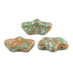 Perles Delos® 6x11mm Opaque Green Turquoise Tweedy par Puca® (5gr)