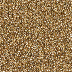 R15-0193F Rocailles 15/0 24KT GOLD LIGHT PLATED FROST (=DB331) (x 5gr) (CLONE)