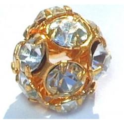 Boule Strass Cristal Doré 6mm (x1)