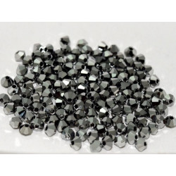 Perles Toupies 4mm Préciosa Jet Light Hématite Full (X20)