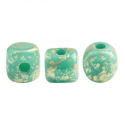Perles Minos® Par Puca® Opaque Green Turquoise Splash (x5gr)