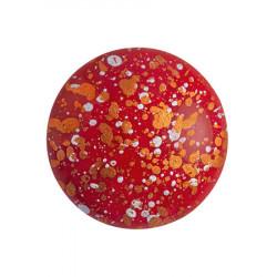 Cabochon Verre 18mm Opaque Coral Red Tweedy (X1)