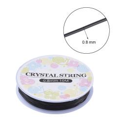 Bobine 10m fil élastique 0.8mm Noir(X1)
