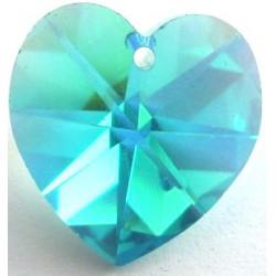 Coeur Swarovski 10mm Blue zircon ab (X1)