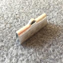 Embout à clipser rectangle Argenté 20x7x5mm Trou:1x3mm (x100)