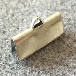 Embout à Clipser rectangle argenté vieilli 20x6x5mm trou:1x3mm (x100)