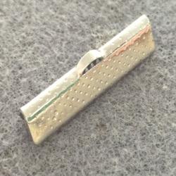 Embout à Clipser rectangle Argenté vieilli 30x8x5mm trou:1x3mm (x100)