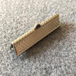 Embout à Clipser rectangle Argenté vieilli 35x8x5mm trou:1x3mm (x100)
