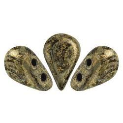 PERLES EN VERRE AMOS® PAR PUCA® 5X8 MM METALLIC MAT OLD GOLD SPOTTED (X5G)