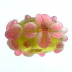 Perle rondelle Citron Rose 16x8mm (X1)