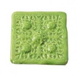 Cabochon en céramique de Vallauris Carré Vert anis 45mm