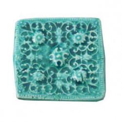Cabochon en céramique de Vallauris Carré Turquoise 45mm