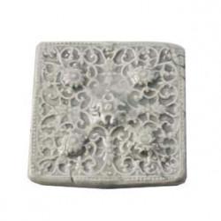 Cabochon en céramique de Vallauris Carré Gris 45mm