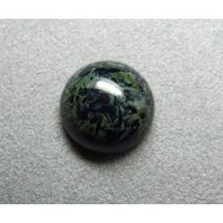 Cabochon rond en verre 16mm Noir marbré vert