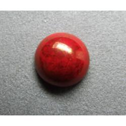 Cabochon rond en verre 16mm Rouge marbré