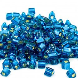 Triangles 11/0 référence  27BD Blue Zircon Silver Ligned (x10)