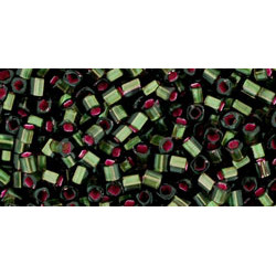 Cubes 1,5mm référence 2204 Silver- Lined Frosted Olivine-Pink Lined (X 10gr)