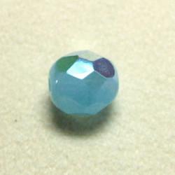 Facettes en verre de Bohême 8mm Blue Opal AB (x10)