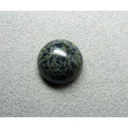Cabochon rond en verre 14mm Noir marbré vert