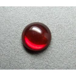 Cabochon rond en verre 14mm Rubis transparent