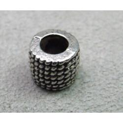Perle rondelle intercalaire 9x7mm - argenté vieilli (x1)