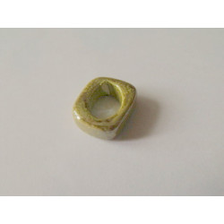 Rondelle céramique 17X14X5X10mm Moutarde multi émaillé(X1)