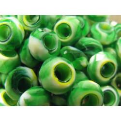 Perle green yellow pour Buna cord ou pvc 14X8X5mm(X1)