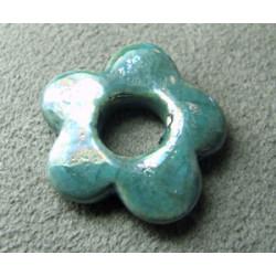 Céramique fleur Turquoise pour buna cord 22X3X7mm(X1)
