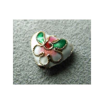 Perle Cloisonnée coeur 12x10mm Blanc (x1)