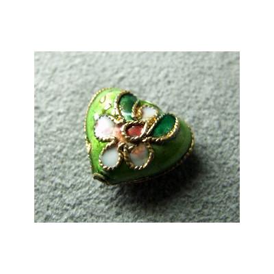 Perle Cloisonnée coeur 12x10mm Anis (x1)
